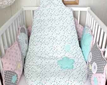 Baby sleeping bag, 6 - 18 months, aqua green and grey stars