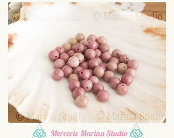 10 pearls 6mm AA - natural beads quality pink rhodonite