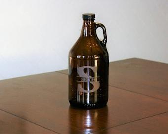Custom Beer Growler ~ Personalized Growler ~ 64 oz Growler~ Monogrammed Beer Gift ~ Beer Lover Gift ~ Groomsmen Gift ~ Gifts for Him