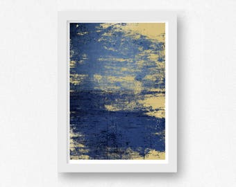 Art Print Blue and Gold, Abstract Print, Digital Download, Printable Wall Art, Abstract Art Print, 8x10 print, 11x14 print, 16x20 print