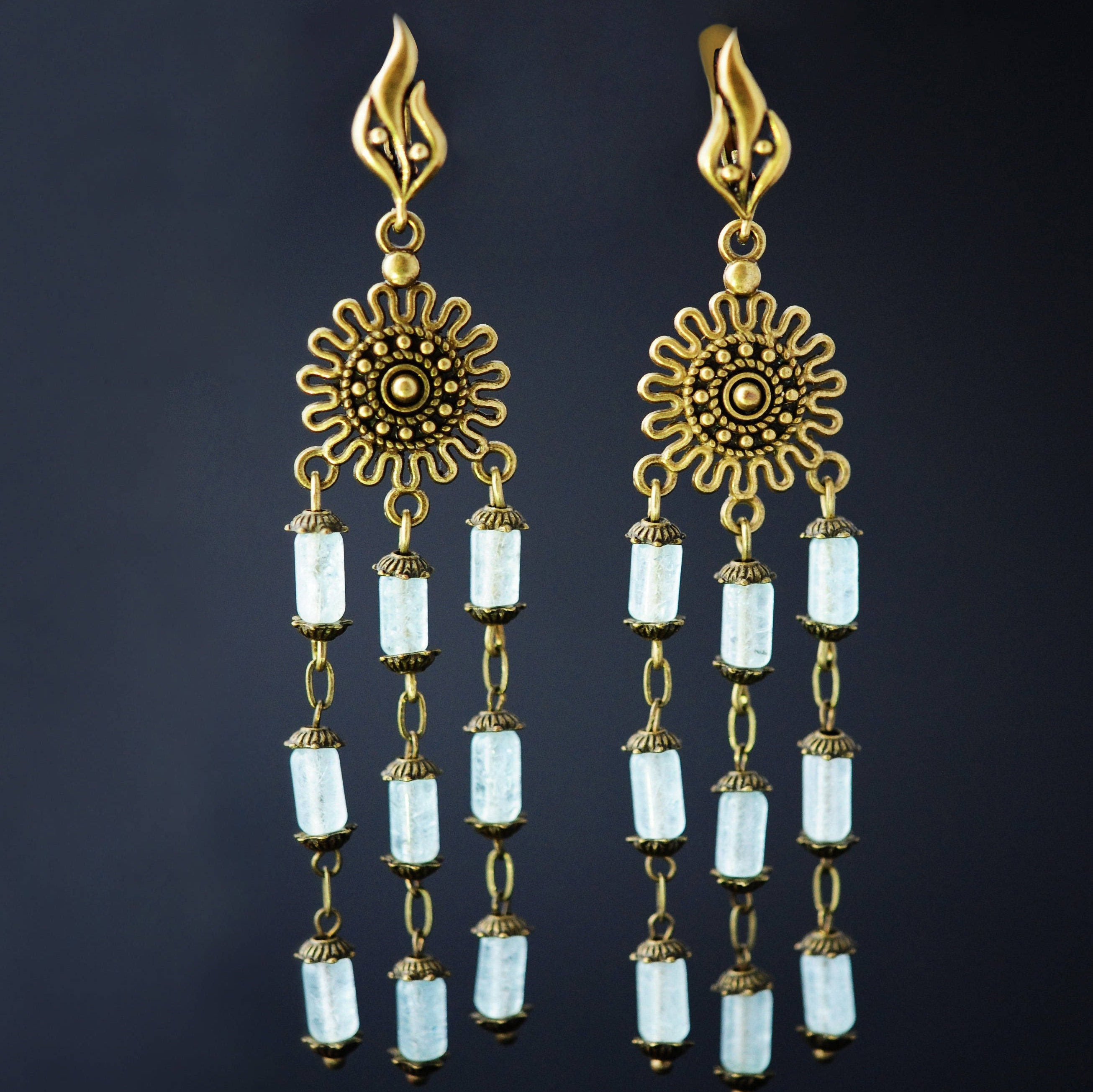 product in oscar gallery normal de earrings white beaded la tassel clip architecture jewelry lyst renta long on