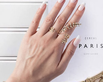 Double Finger Leaf Ring