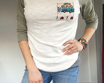 Three-Quarter Sleeve Baseball Tee with African Fabric Pocket