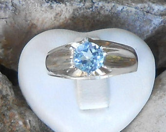 Ring, 950 silver, Blue Topaz sky faceted round 6 mm (size on request), gift for her