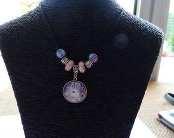 Pendant Necklace with multicolor Unicorn cabochon