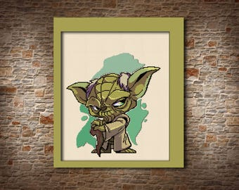 Yoda star wars Cross stitch pattern Gift for him Cartoon pattern Modern xstitch Yoda pattern Needlepoint pattern Gift for son Cute cartoon