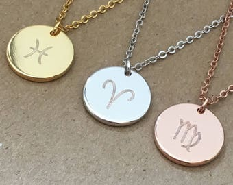 Zodiac Necklace Personalized, Virgo Pisces Aries Necklaces, Astrology Necklace, Zodiac Sign Jewelry, Rose Gold Silver Necklace, Birthday