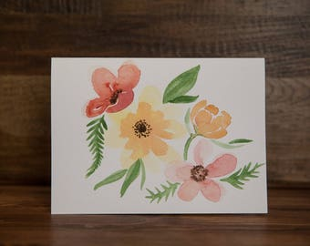 Floral Hand-painted Watercolor Card