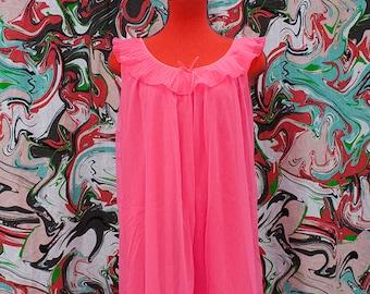 1960's neon pink chiffon nightgown