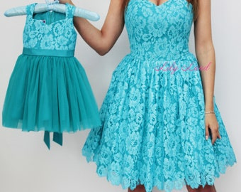 Mother and daughter Matching Dresses Turquoise Mother Daughter Matching Outfit Matching Dress mommy and me outfits birthday dress lace dress
