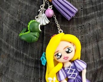 Keychain Princess Rapunzel and Pascal