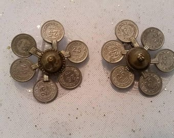 Pair of Afgani Coin Flower Hairclip, Fusion Belly Dance Hair Clip, Belly Dance Hair Accessory