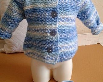 Around baby: hooded coat + its bottons matching Blue Heather color Pixie style size 1 months to three