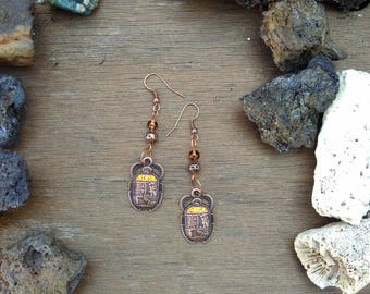 Earrings Scarab and beads of amber