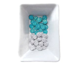 Lot 40 micro-cristaux silver + turquoise resin cabochons 12mm flat back round