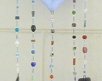 cat fused glass wind chime free shipping