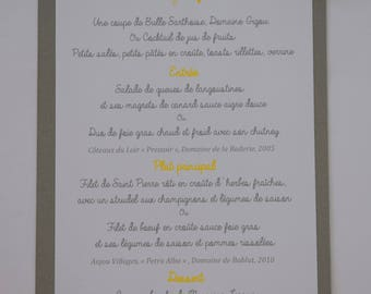 Menu with windmill and pennants - baptism, communion, wedding, birthday, grey yellow