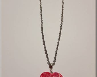 Pink and cream heart pendant necklace