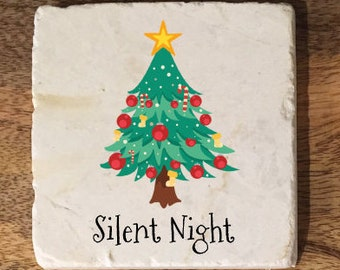 Christmas Carol Song Lyric Marble Coasters