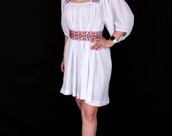 Bohemian Style White Summer Dress with Hand Embroidery 100% Linen