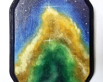 Hand Painted Original Yellow and Green Galaxy Acrylic Painting on Wood