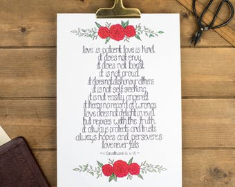 Love Is Patient Love Is Kind Print - 1 Corinthians 13:4-7 Prints - Christian Prints - Christian Gifts - Wedding Gift - Valentines Day Gift