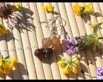 Agate natural beads earrings