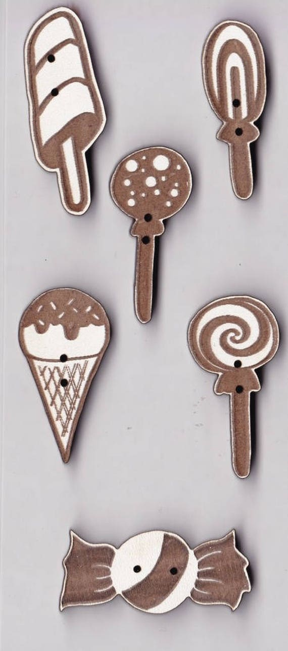 "Buttons craft Board wood pattern ""lollipop"""