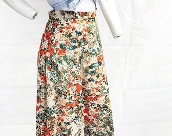 Patterned wide leg summer trousers