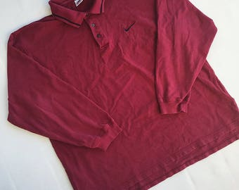 VTG 90s Maroon Red Nike Long Sleeve Rugby Polo Shirt Men's Size XXL Made in USA