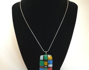 Colorful fused glass necklace, Mondrian-esque style pendant