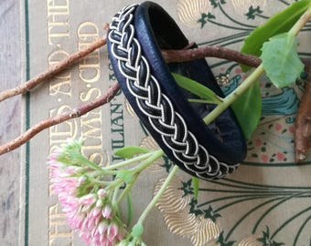 Sami plum leather, leather and pewter silver - wire cord Scandinavian Bohemian Celtic bracelet