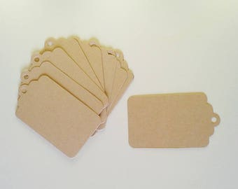 10 large blank kraft tags for gift or wedding place card