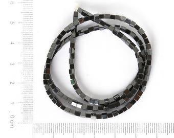 set of 20 beads cube, hematite, black, 4 * 4mm