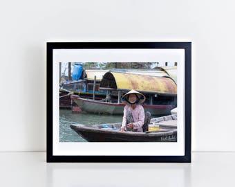 8x10/16x20 Print of Vietnamese Boat Lady/Vietnam Photograph/Fine Art Print/Color Photography/Travel Photography
