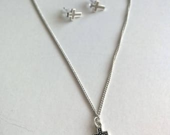 Cross Necklace + Studs