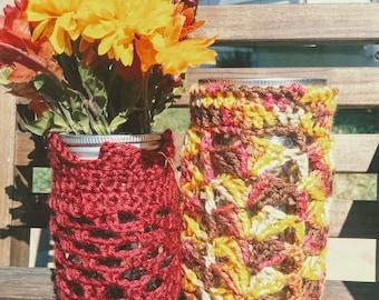 Crochet Mason Jar Cover - Crochet Mason Jar Cozy - Crochet Candle Cover Cozy - Seasonal Decor - Autumn