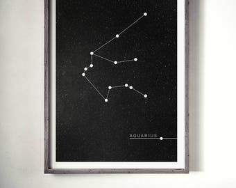 Aquarius Print, Zodiac Poster, Constellation Print, Zodiac Print, Zodiac Sign, Aquarius Zodiac Poster, Zodiac Constellation,Astrology