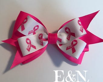 Breast cancer hair bow - pink ribbon bow - breast cancer bow - breast cancer bows - cancer bow - breast cancer gifts - pink ribbon gifts