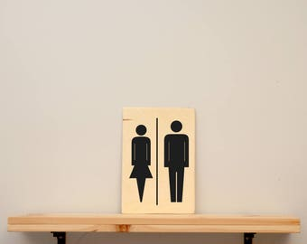"Toilet signs "" men - women "" - vinyl on varnished wood (choose from a range of colours) - Door decor"