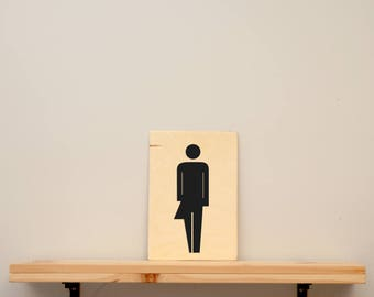"Toilet sign "" transgender "" - vinyl on varnished wood (choose from a range of colours) - Door decor"