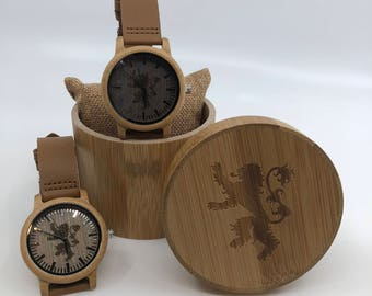 Game of Thrones House Lannister laser engraved Genuine Leather and Bamboo Watch!