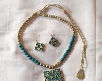 Green ,Gold, Antique necklace with matching earrings -Indian jewelry-terracotta clay jewelry-polymer clay jewelry-beaded necklace