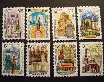 USSR Postage Stamp Set  1990 **Historic Architecture & Monuments** Complete Set* Scott # 5912-19 MNH