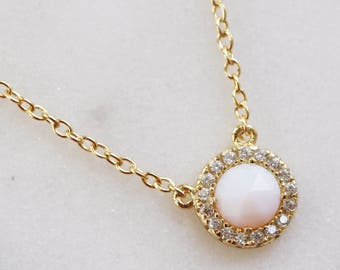 Rose opal halo necklace
