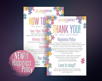 Thank You Card, Thank You Care Card, Thank You Cards, Happiness Policy, Care Card, Digital File, Home Office Approved Color&Fonts