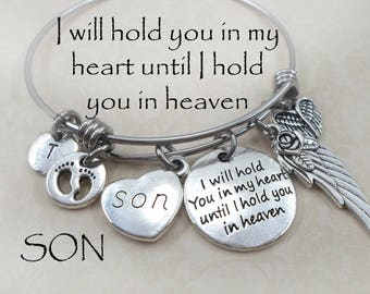 Son Memorial Bangle Bracelet, Baby Boy, Miscarriage, Grieving Mother, Bereavement, Sympathy, Grief, Loss,  I Will Hold You In My Heart