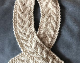 Winter Scarf Hand-Knit Ivory