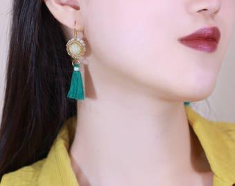 Green Tassel Yellow Beadwork Earrings