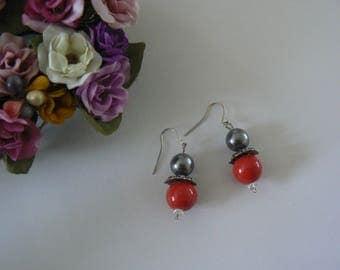 Earrings grey dark red clear